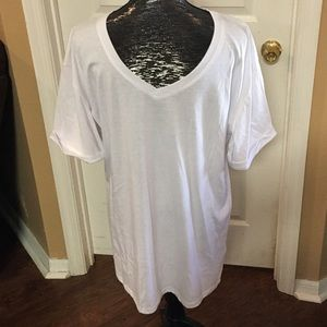 White basic vneck shirt